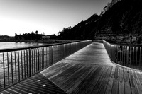 Clear Skies Sunrise at Terrigal Boardwalk in Black and White