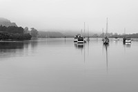 Boats on the Bay - Rainy days at the Waterfront in Black and Whi