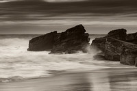 Moody Seascape with Large and Powerful Surf in Black and White