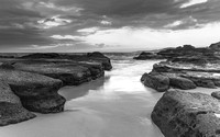 Moody and Cloudy  Morning Seascape in Black and White