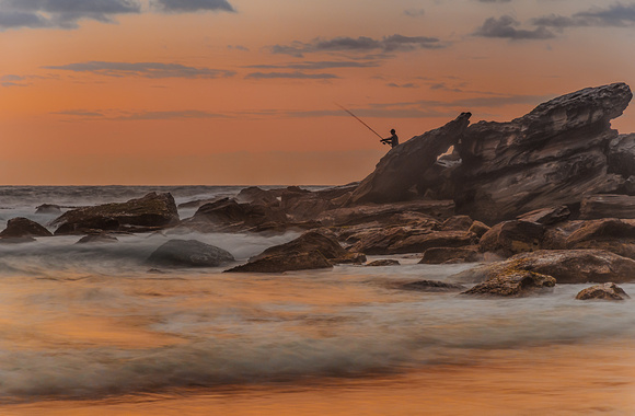 The Fisherman - Rocky Dawn Seascape